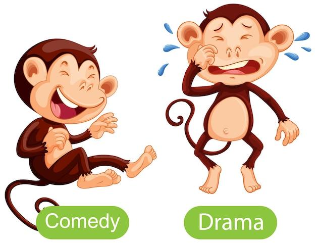 Palavras opostas com comédia e drama