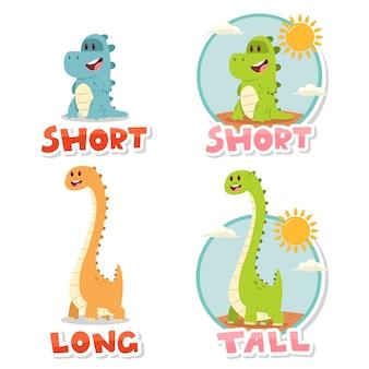 Palavras opostas curto e alto, longo. ilustração dos desenhos animados com dinossauros grandes e pequenos bonitos isolados no fundo branco. Vetor Premium