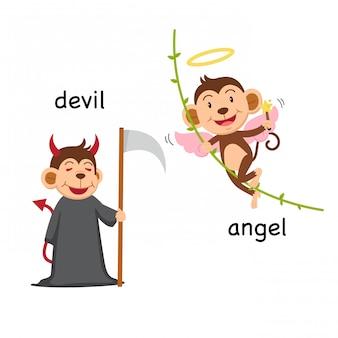 Palavras opostas diabo e anjo