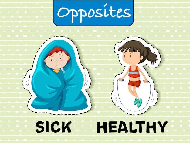 Palavras opostas doentes e saudáveis