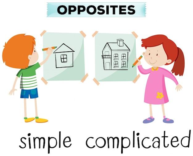 Palavras opostas para ilustração simples e complicada