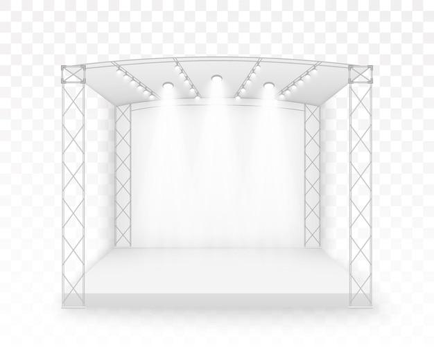 Palco 3d white, cena do concerto no podium, entretenimento show performance, com tela de led, holofotes