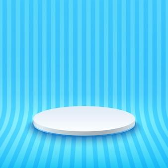 Palco abstrato branco e azul claro para prêmios em moderno. renderização de cor pastel de forma geométrica.