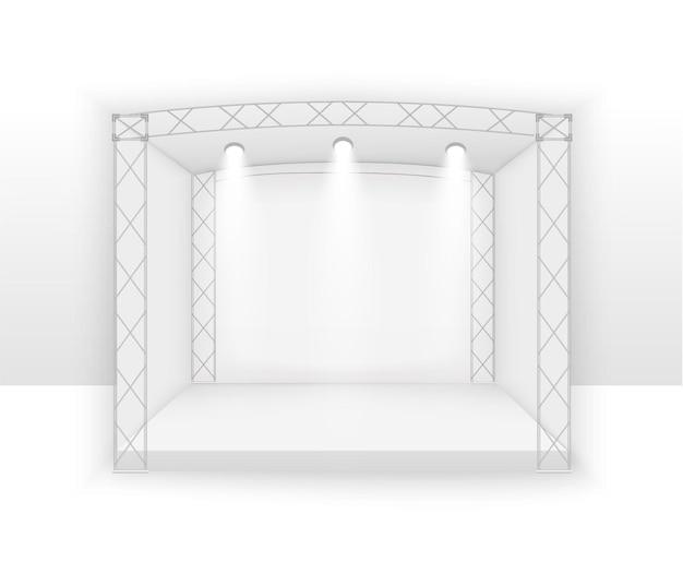 Palco branco 3d, cena de concerto de pódio, entretenimento show de desempenho, pano de fundo com tela de led, holofotes.