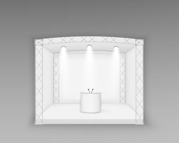 Palco branco, cena de concerto de pódio, espetáculo de entretenimento, com tela de led, quadrado geométrico vazio de holofotes, ilustração de exibição de sala de evento de apresentação