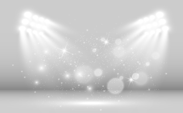 Palco branco com holofotes de uma luz com brilhos em um fundo transparente