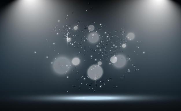 Palco branco com holofotes. ilumine com brilhos em um fundo transparente.