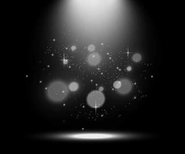 Palco branco com holofotes, ilustração de uma luz com brilhos em um fundo transparente