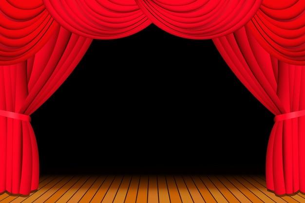 Palco com cortina de teatro vermelha aberta para show