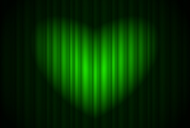 Palco com cortina verde e holofotes grandes, em forma de coração