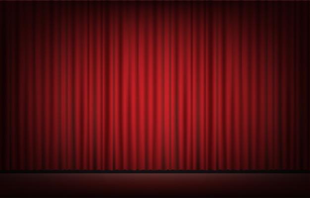 Palco com cortina vermelha backgrond