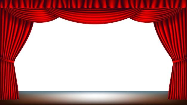 Palco com cortina vermelha e fundo branco vazio