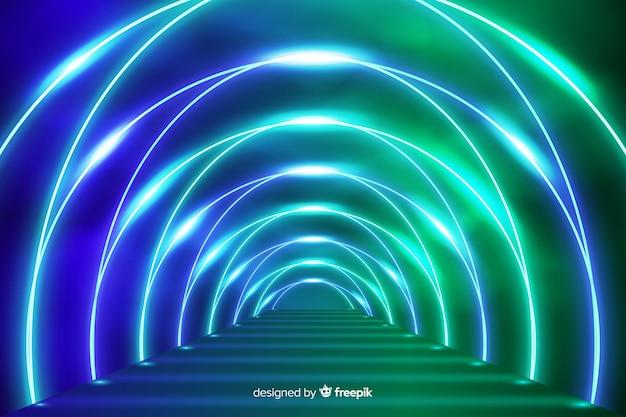 Palco com fundo de luzes de néon
