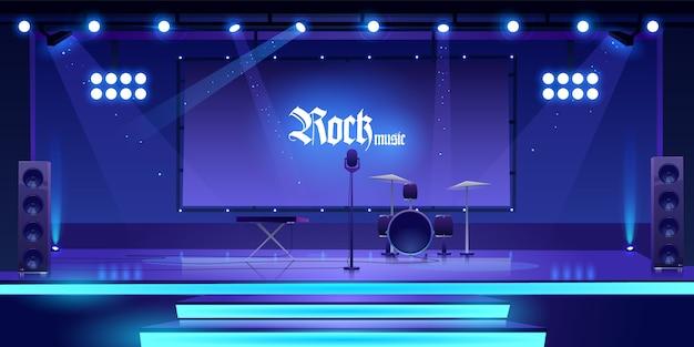 Palco com instrumentos e equipamentos de música rock