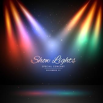 Palco com luzes coloridas fundo