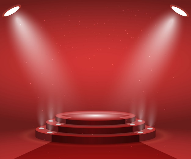 Palco com luzes para a cerimônia de premiação. pódio redondo iluminado com tapete vermelho. pedestal.