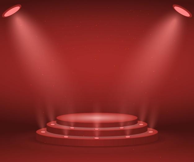 Palco com luzes para a cerimônia de premiação. pódio redondo iluminado. pedestal.