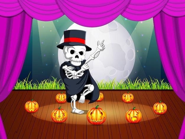 Palco com uma festa de halloween com crânios humanos