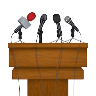 Palco da conferência de imprensa. reunião mídia microfones fotos imagens realistas