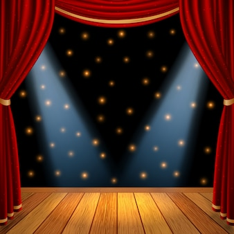 Palco de cena teatral vazio com cortinas vermelhas