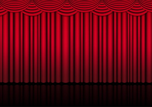 Palco de cenário de teatro realista interior com uma cortina vermelha para show de comédia ou filme de ato de ópera.