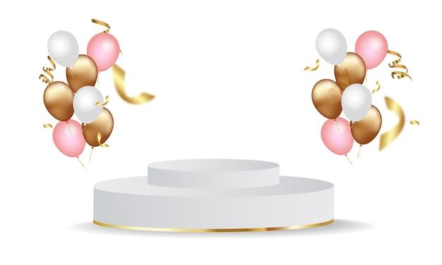 Palco de cilindro com balões dourados, brancos e rosa