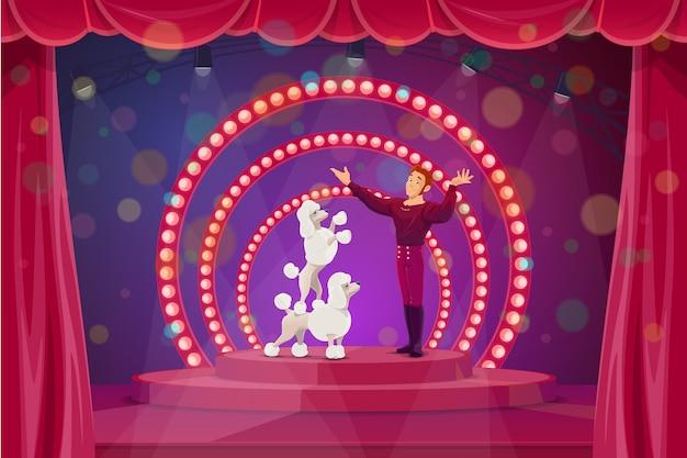 Palco de circo com grandes artistas de tenda domados e cães treinados. personagem do artista treinador realizando truques com poodles na cena com os bastidores e holofotes vermelhos. performance de circo
