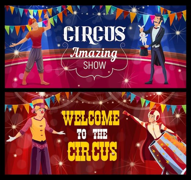 Palco de circo shapito, acrobata, comedor de fogo, andador de pernas de pau e homem de bala de canhão realizam um programa de show na cena. banners de desenhos animados com artistas na grande arena, parque de diversões e entretenimento