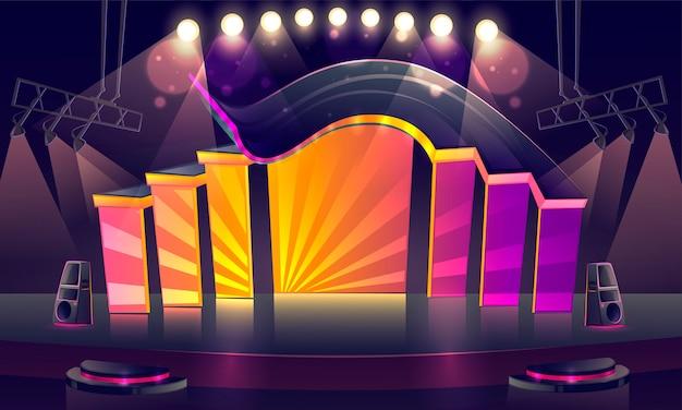Palco de concertos iluminado por holofotes