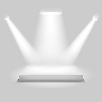 Palco de concurso realista, pódio branco vazio, lugar para colocação de produto para apresentação, pódio de vencedor ou palco em fundo cinza