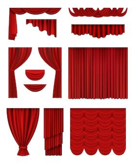 Palco de cortina. cortinas de seda de luxo vermelhas com decoração de salão de ópera teatral coleção realista