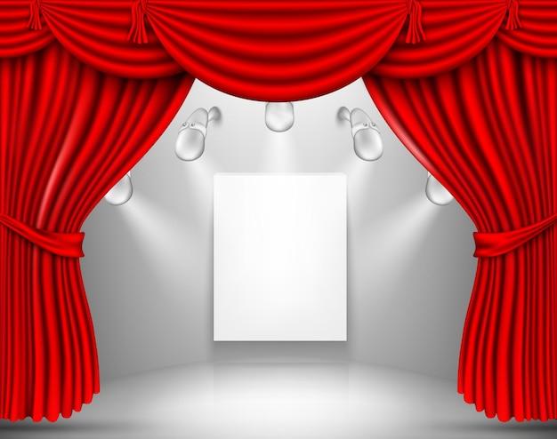 Palco de cortinas de seda vermelha.
