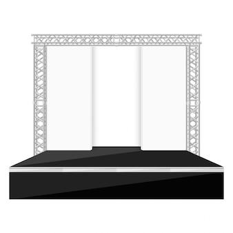Palco de estilo plano de cor preta com cenas de volta ilustração de treliça de metal