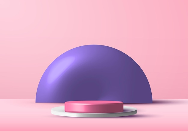 Palco de estúdio de pódio de renderização realista de rosa e branco para vitrine de exibição com fundo de círculo roxo.
