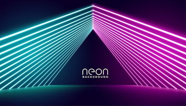 Palco de luzes de neon em luzes rosa e azuis