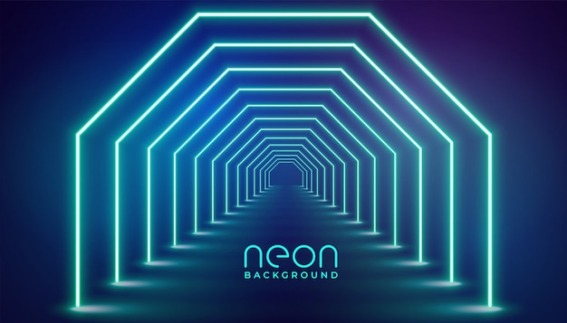 Palco de luzes geométricas de néon futurista