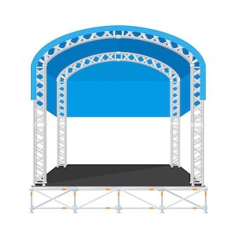 Palco de metal de concerto secional de design plano de cor com telhado arredondado