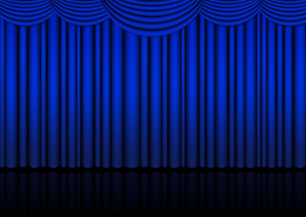 Palco de ópera realista interior com cortina azul.
