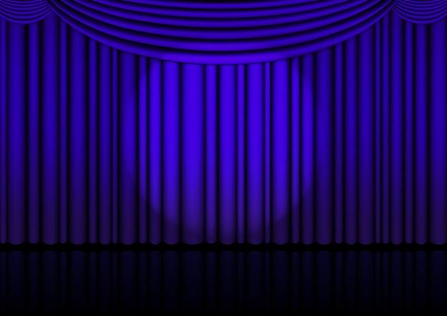 Palco de ópera realista interno com cortina azul e holofote.