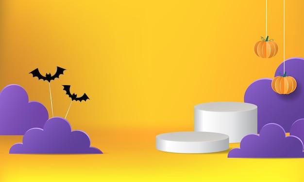 Palco de pódio com tema de halloween para exibição de produtos desenho vetorial realista para banner promocional