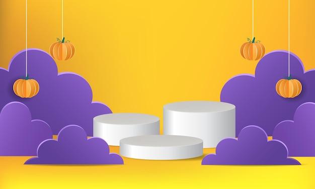 Palco de pódio com tema de halloween para exibição de produtos desenho vetorial realista para promoção