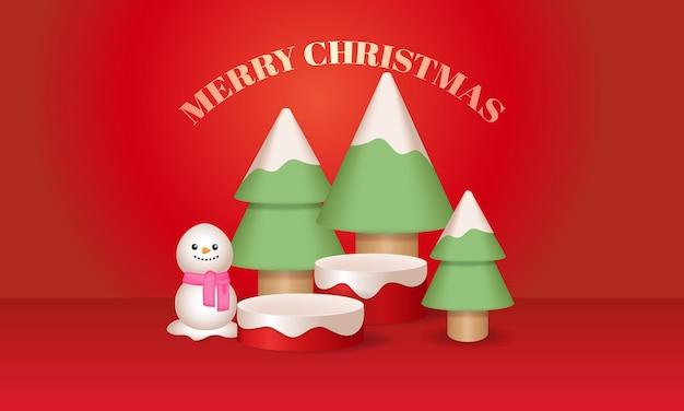 Palco de pódio de decoração de árvore de natal e boneco de neve para exposição de produtos