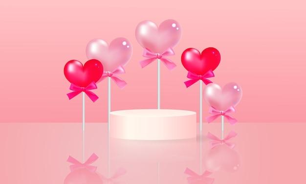 Palco de pódio de design bonito. produto de exibição de promoção do dia dos namorados. design realista.