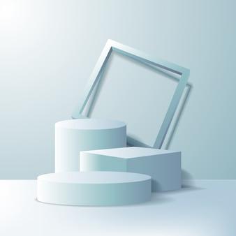 Palco de pódio vazio ou conceito de apresentação de suporte de exibição de pedestal. caixa 3d geométrica e cilindro com moldura na cor branca.