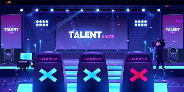 Palco de show de talentos com cadeiras do júri, cena vazia