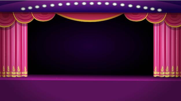 Palco de teatro com cortina vermelha aberta