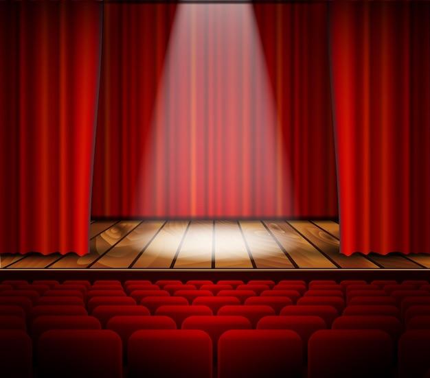 Palco de teatro com cortina vermelha