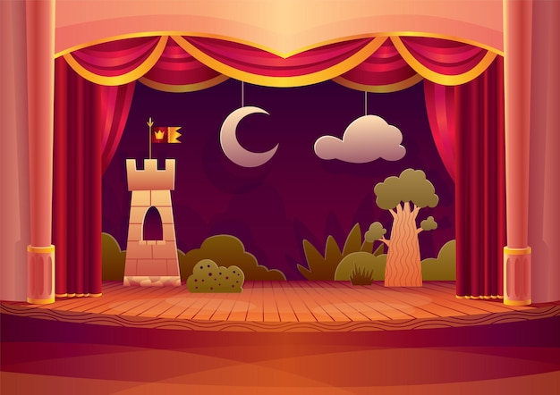Palco de teatro com cortinas vermelhas e aceso. ilustração dos desenhos animados do interior do teatro