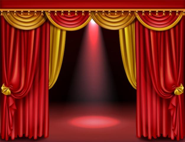 Palco de teatro com cortinas vermelhas e douradas