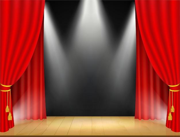 Palco de teatro com holofotes e cortina vermelha